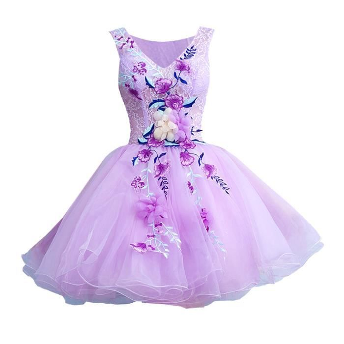 7a323752afc Robe Courte Robe de soirée Mariage Bal Fête Anniversaire Violet avec des Fleurs  Lace Pour Femme Chiffon WK809-34
