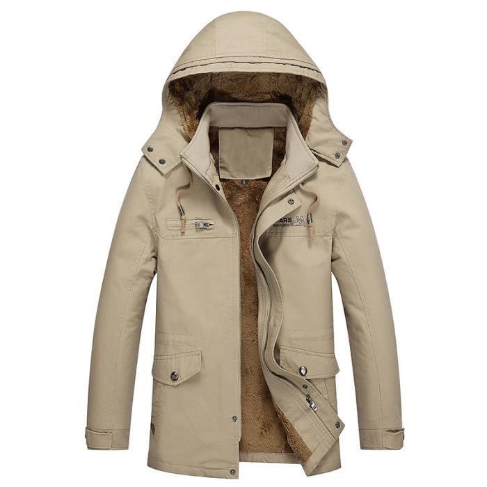 vent Casual Coupe Longueur D'hiver Manteau Hoodie Moyenne Épaississement Hommes Kaki Velours Coton 8EgTqq0w
