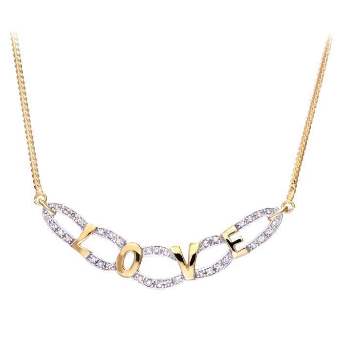 Revoni - Collier en or jaune 9 carats et diamants - REVCDPNE01733Y