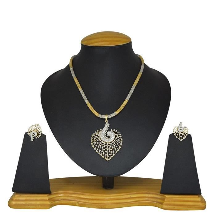 Womens Bridal Jwelleries White Metal Alloy Jewellery Set With Pendant And Earrings ForH2S98