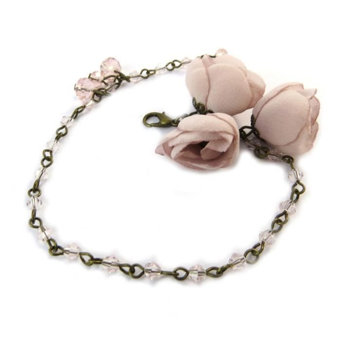 Bracelet artisanal Les Antoinettes vieux rose (fait main)... [P0802]