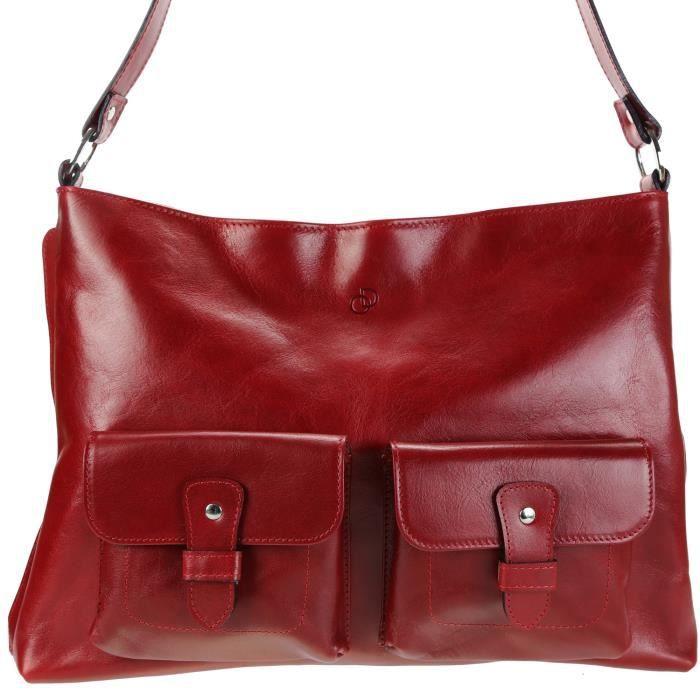 Olimar D'or - Sac à main cuir - Sacs femmes portes epaule/main - Sac en cuir 36x26cm - modele SoSlim - Rouge, Cuir