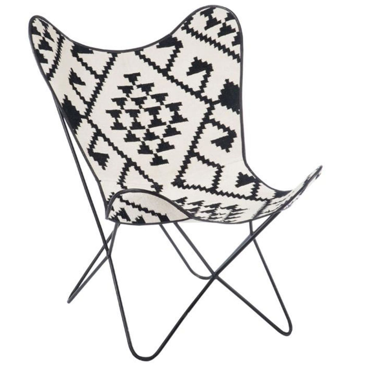fauteuil lou jute et m tal noir et blanc noir blanc achat vente fauteuil cdiscount. Black Bedroom Furniture Sets. Home Design Ideas