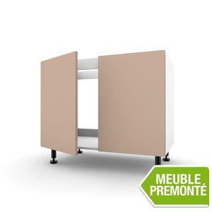 Meuble Bas Sous Evier 80cm 2 Portes 70x40 Soft Sable Achat