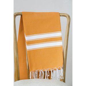 SERVIETTE DE PLAGE Fouta 100% coton Rayure A 100x200 cm orange