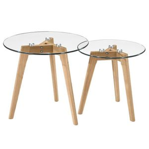 TABLE BASSE Table basse ronde Bilto (lot de 2)