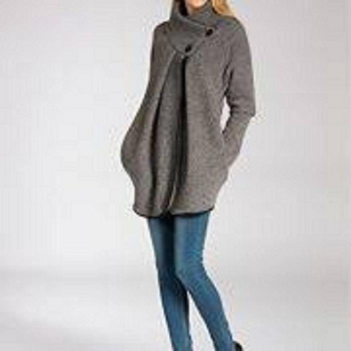 VESTE Veste cape en laine gris pour femme Taille unique