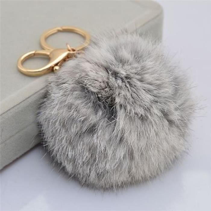 porte cl gris sac voiture mignon bijoux boule pompon. Black Bedroom Furniture Sets. Home Design Ideas