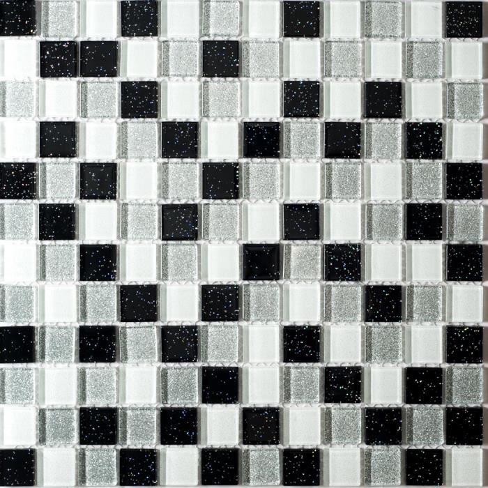 carrelage mosa que en verre argent blanc noir avec des paillettes multicolores 30cm x 30cm. Black Bedroom Furniture Sets. Home Design Ideas