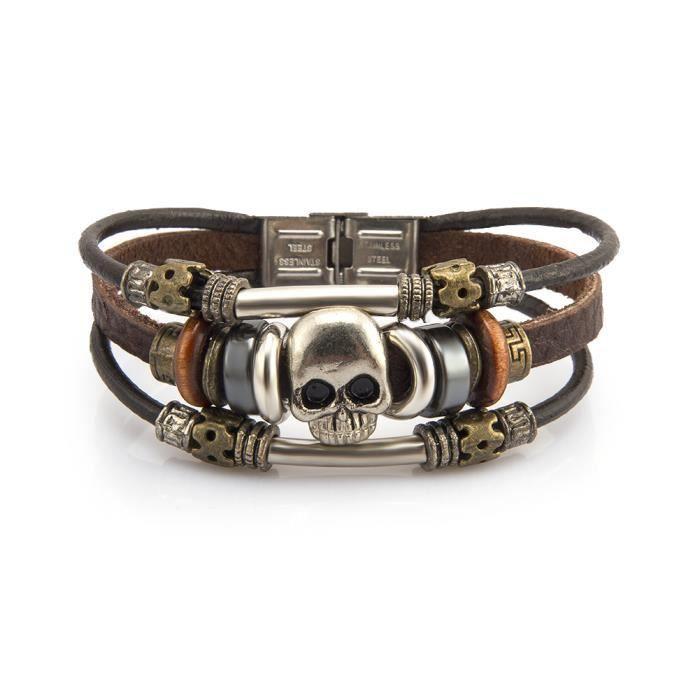 Bracelet tete de mort achat vente pas cher cdiscount - Bracelet couple ancre ...