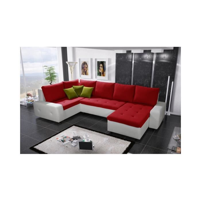 Justhome senso bis canap d 39 angle blanc rouge h x l x l - Canape d angle rouge ...
