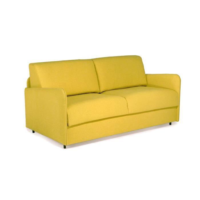 canap convertible aspect 120 moutarde achat vente canap sofa divan cdiscount. Black Bedroom Furniture Sets. Home Design Ideas