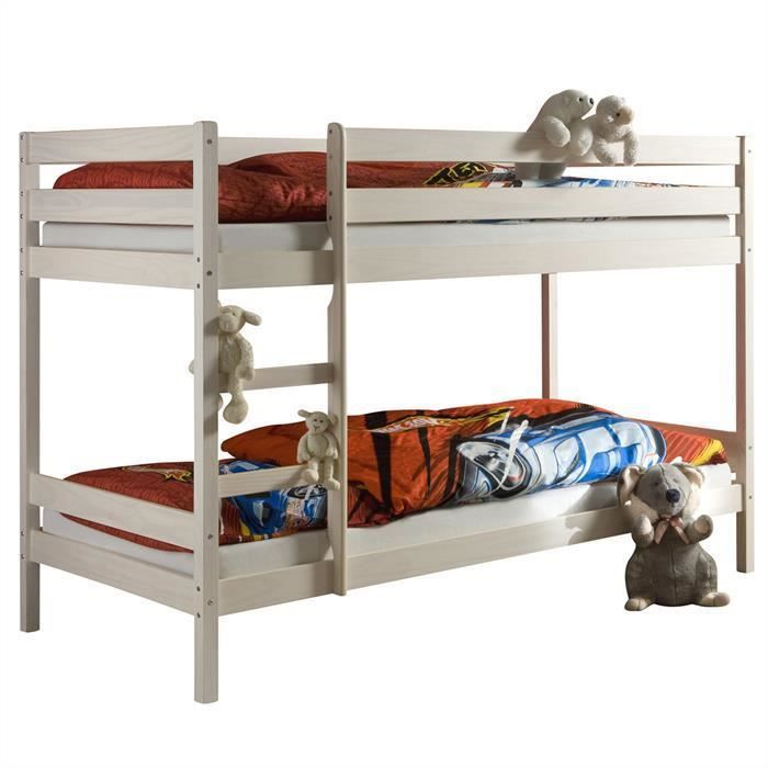 lit superpos felix 2 en pin lasur blanc achat vente lits superpos s lit superpos felix 2. Black Bedroom Furniture Sets. Home Design Ideas