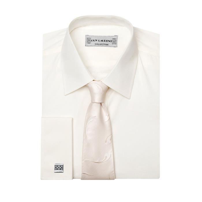 chemise de mariage homme poign blanc achat vente chemise chemisette cdiscount. Black Bedroom Furniture Sets. Home Design Ideas