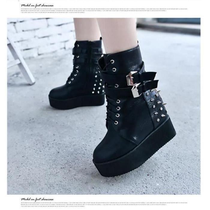 la couleur pure de la femme li e semelle paisse talon chaussure lifed avec rivet