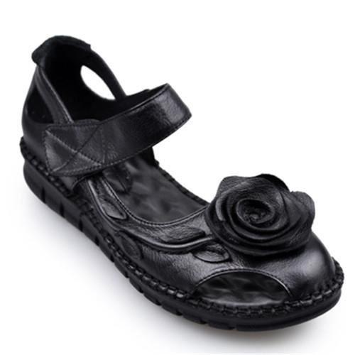 Sandales En Femme Plat Véritable Avec Décoration Et Florale Cuir MzpGSVqU