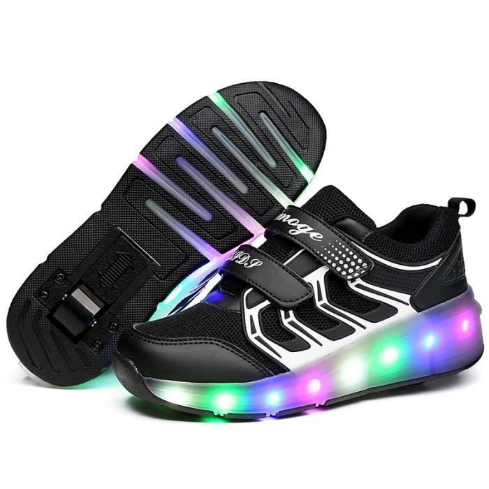 Heelys Chaussures à roulettes filles garçons à roulettes LED Lumière Sneakers ®KIANII Noir