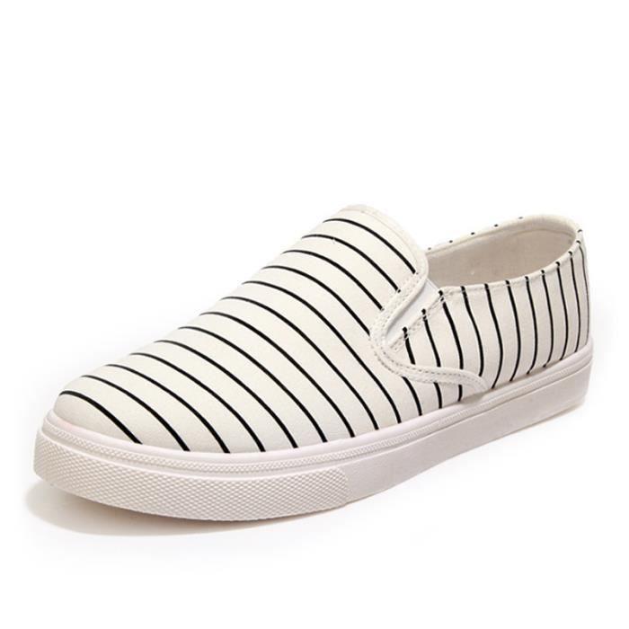 Chaussures Homme De Toile Pour Rayé Espadrilles Bout Rond Slip-On Quatre Saisons Confortable Casual Appartements Mocassins Hommes