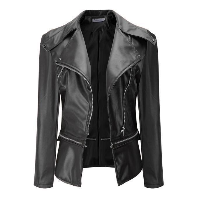 Longue Mode Slim Faux Femmes Noir Manche Moto Veste Cuir xgfw4nU1q