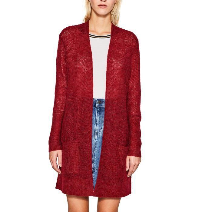 03e7676155783 Esprit Gilet Femme 1W0PQL Taille-36 Rouge Rouge - Achat   Vente ...