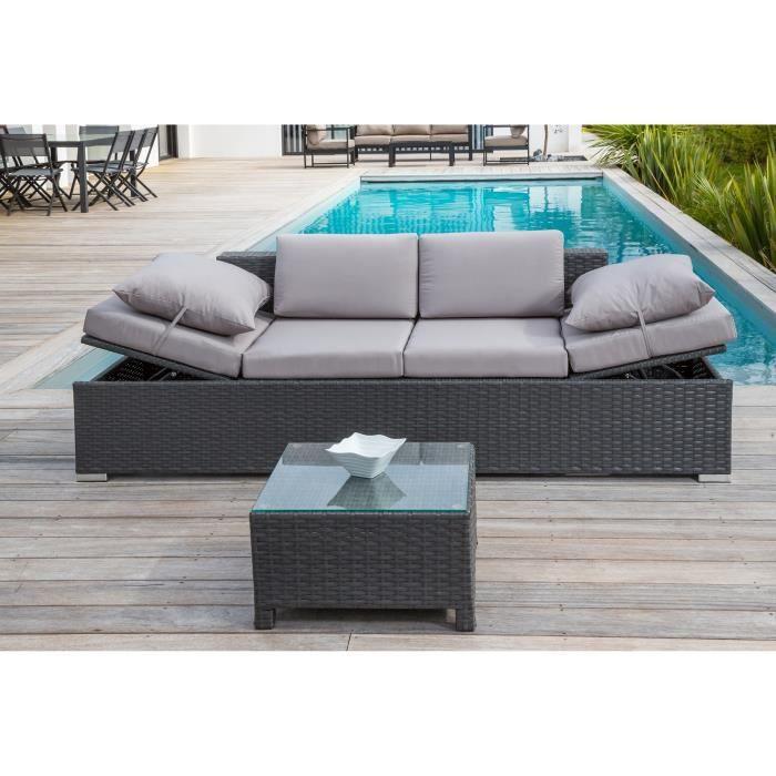 salon de jardin 1 table basse 1 canap 2 places en r sine tress e gris fonc achat vente. Black Bedroom Furniture Sets. Home Design Ideas
