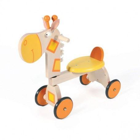 trotteur porteur girafe en bois scratch rouge achat vente youpala trotteur 5414561814023. Black Bedroom Furniture Sets. Home Design Ideas