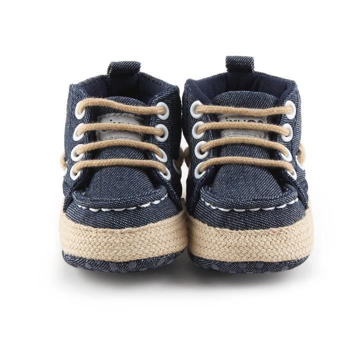 2017 nouveau style de cow-boy Hot Vente lacent enfants en bas âge de bébé en coton automne Chaussures bébé Mocassins Première 5uPpu3h