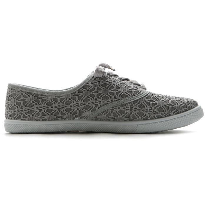 Ballet Shoe Lace Up Sneaker Canvas plat A4TZI Taille-37 1-2