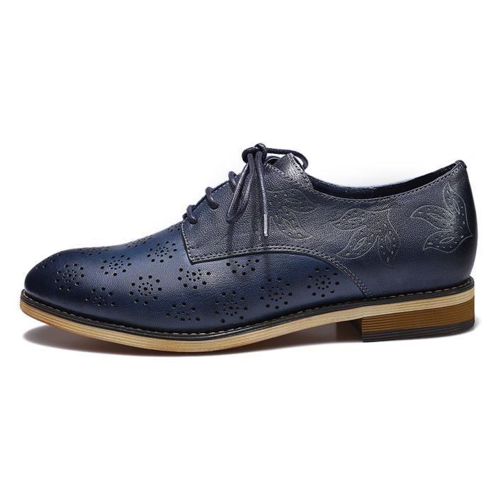 Perforé Cuir Chaussures Richelieu Wingtip Oxfords Femmes Derby Lvcog Pour 40 Lacets Taille En À wAI5xZq