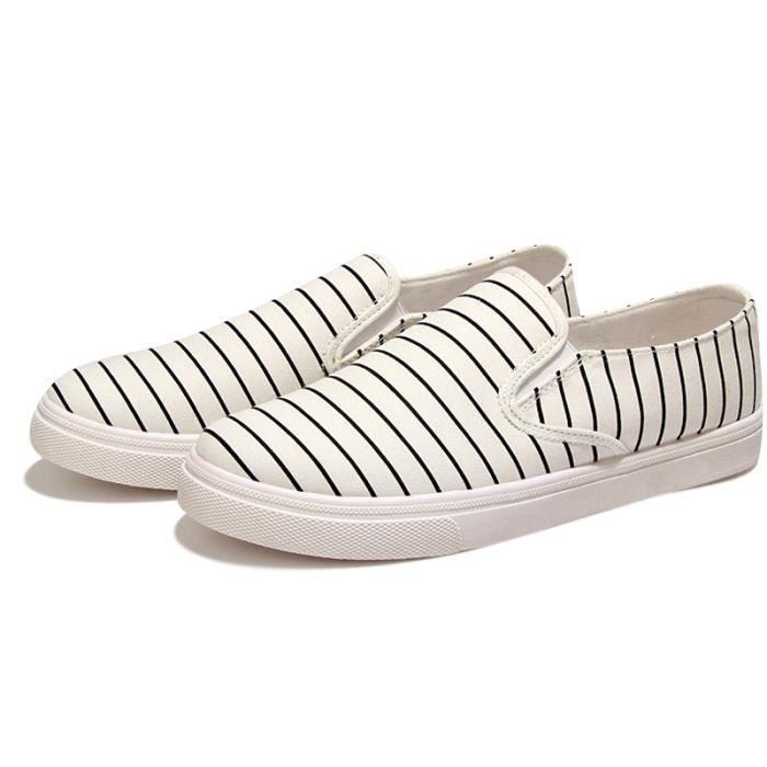 Chaussures Homme De Toile Pour Rayé Espadrilles Bout Rond Slip-On Quatre Saisons Confortable Casual Appartements Mocassins Hommes HuXgACFzX