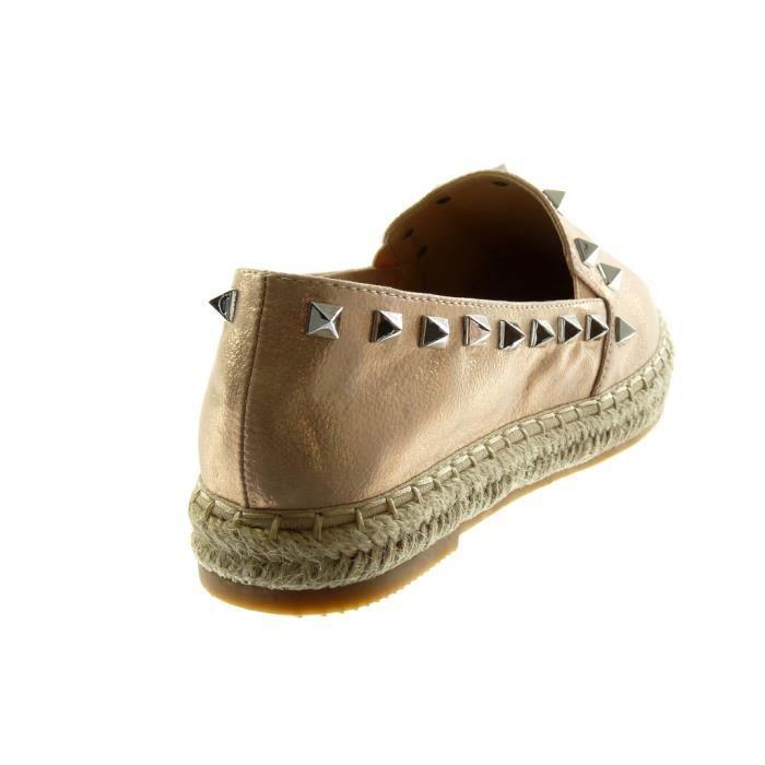 Angkorly - Chaussure Mode Espadrille slip-on femme clouté corde grainé Talon bloc 2.5 CM - Champagne - LX164 T 41