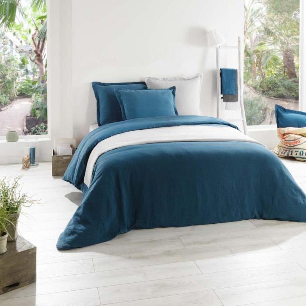drap housse lin bleu canard 160x200 cm achat vente. Black Bedroom Furniture Sets. Home Design Ideas
