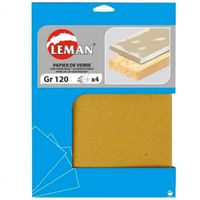 FEUILLE ABRASIVE Lot de 4 feuilles de papier de verre 80 grammes