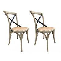 Lot de 2 chaises EFIA - Bois et assise en rotin - Naturel et métal
