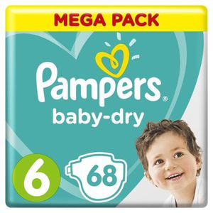COUCHE Pampers Baby-Dry Taille 6, 13-18 kg - 68 Couches -