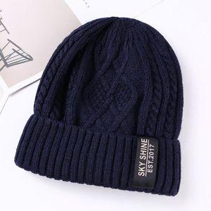 Bonnet Tricot Homme Femme Velours Épais Chaud Hiver Chapeau Tricoté  Cache-oreilles Bleu Bleu marine - Achat   Vente bonnet - cagoule  2009266229024 - ... 73eadeb9cd4
