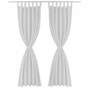 RIDEAU Lot de 2 rideaux à passant micro satin blanc 140 x