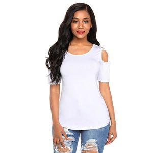 efa585a5e0864 T-SHIRT T shirt femme col rond pas cher en Couleur unie en