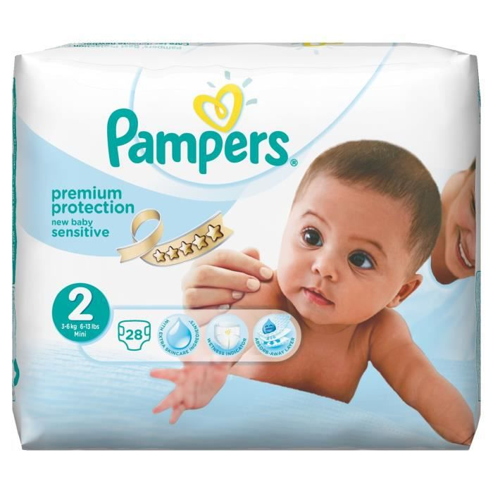 Pampers New Baby Sensitive Taille 2 De 3 à 6 Kg 28 Couches Blanc