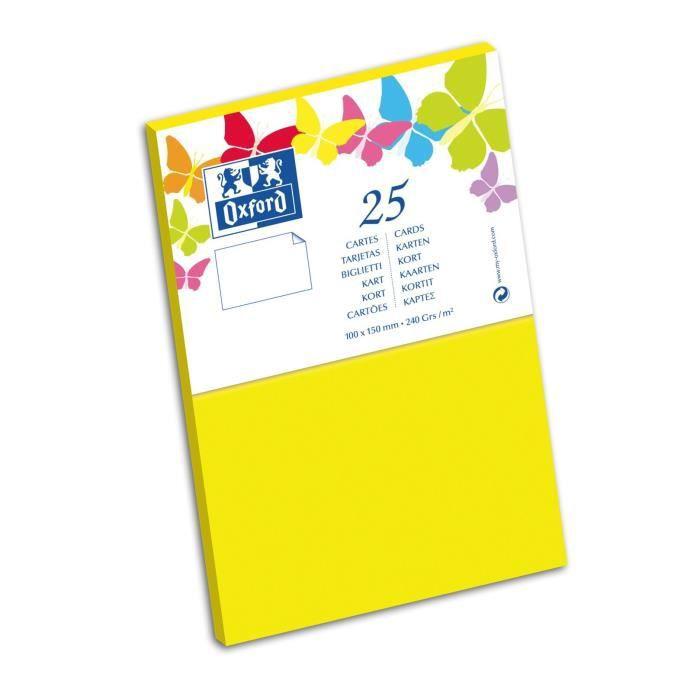 OXFORD 25 Cartes - 15 cm x 10 cm x 0,7 cm - 240g - Jaune