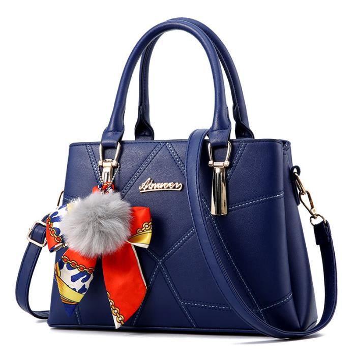 91bc16f841f0 sac à main femme de marque sac cabas luxe cuir 2017 Nouvelle mode sac cuir  bleu Sac À Bandoulière sac bandouliere