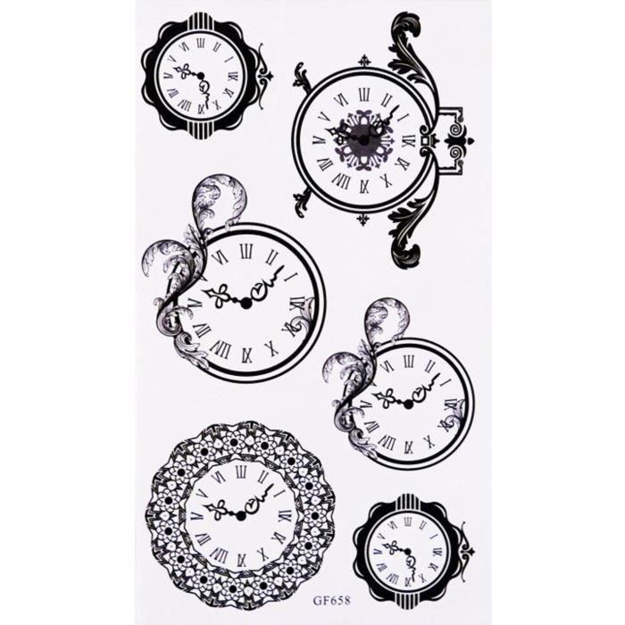 Tatouages Temporaire Horloge Montre 6 Stickers Achat Vente Tatoo