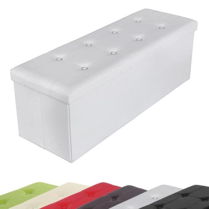 tabouret rangement coffre blanc achat vente fauteuil blanc cdiscount. Black Bedroom Furniture Sets. Home Design Ideas