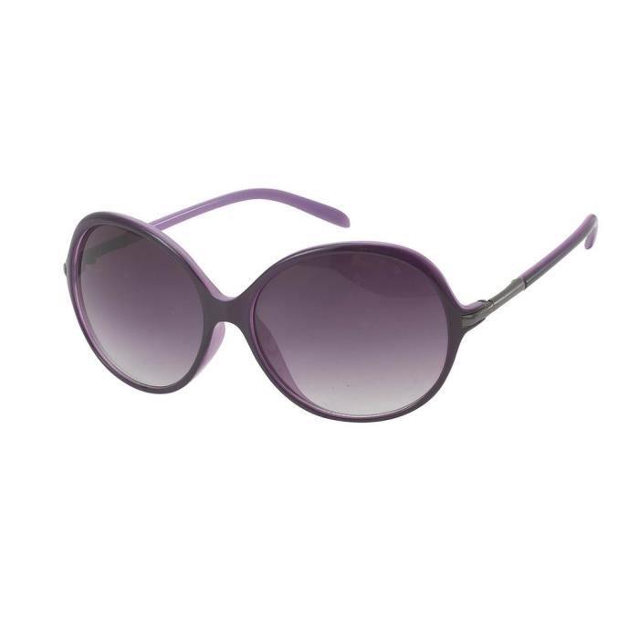 Lunettes de soleil ovales-9484 verres gris, monture intérieure violet