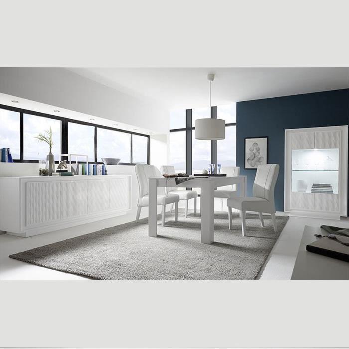 Salle à manger blanc laqué design et motifs ERINE 3 140 cm Avec 1 ...