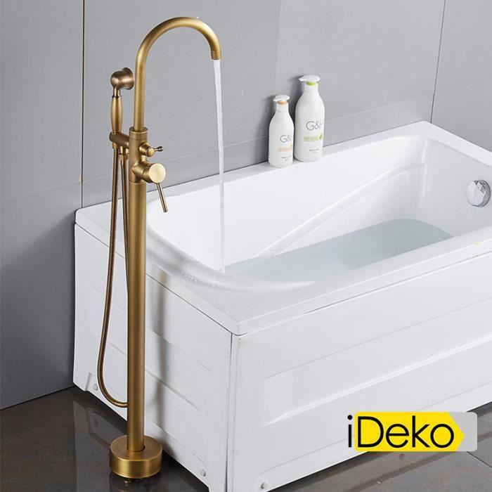 iDeko® Robinet de baignoire ilot sur Pied salle de bain douche verticale  avec Douchette vintage