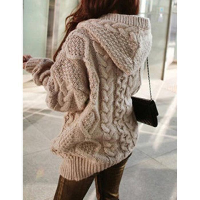 Gilet long laine capuche femme