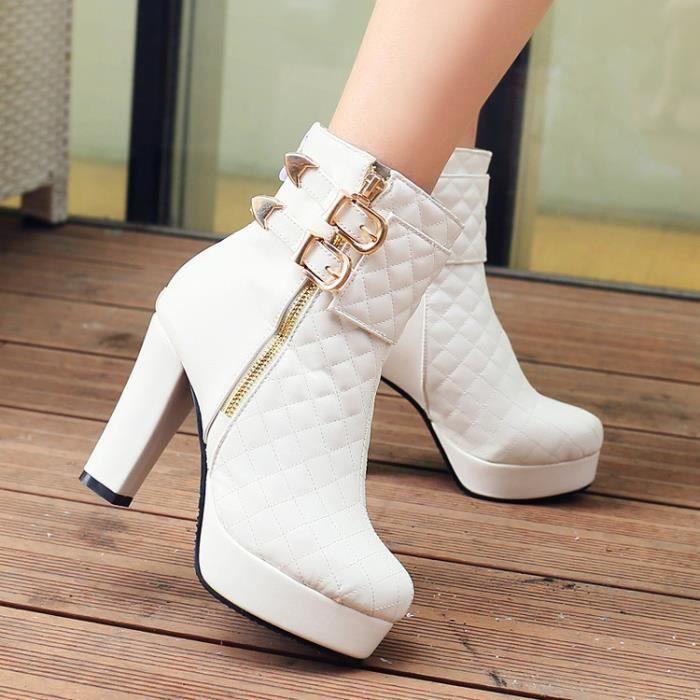 martin boots-Pure Color Haut Talonpais des femmes Avec Bottes glissi re bande lat rale court