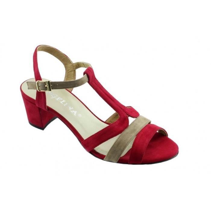 Lamya - Chaussures femme sandales talon carré marques Angelina cuir daim  rouge et beige taupe petites pointures