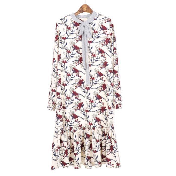 Robe Femme Impression Fleur Manche Longue Nœud Papillon Jupe Sirène